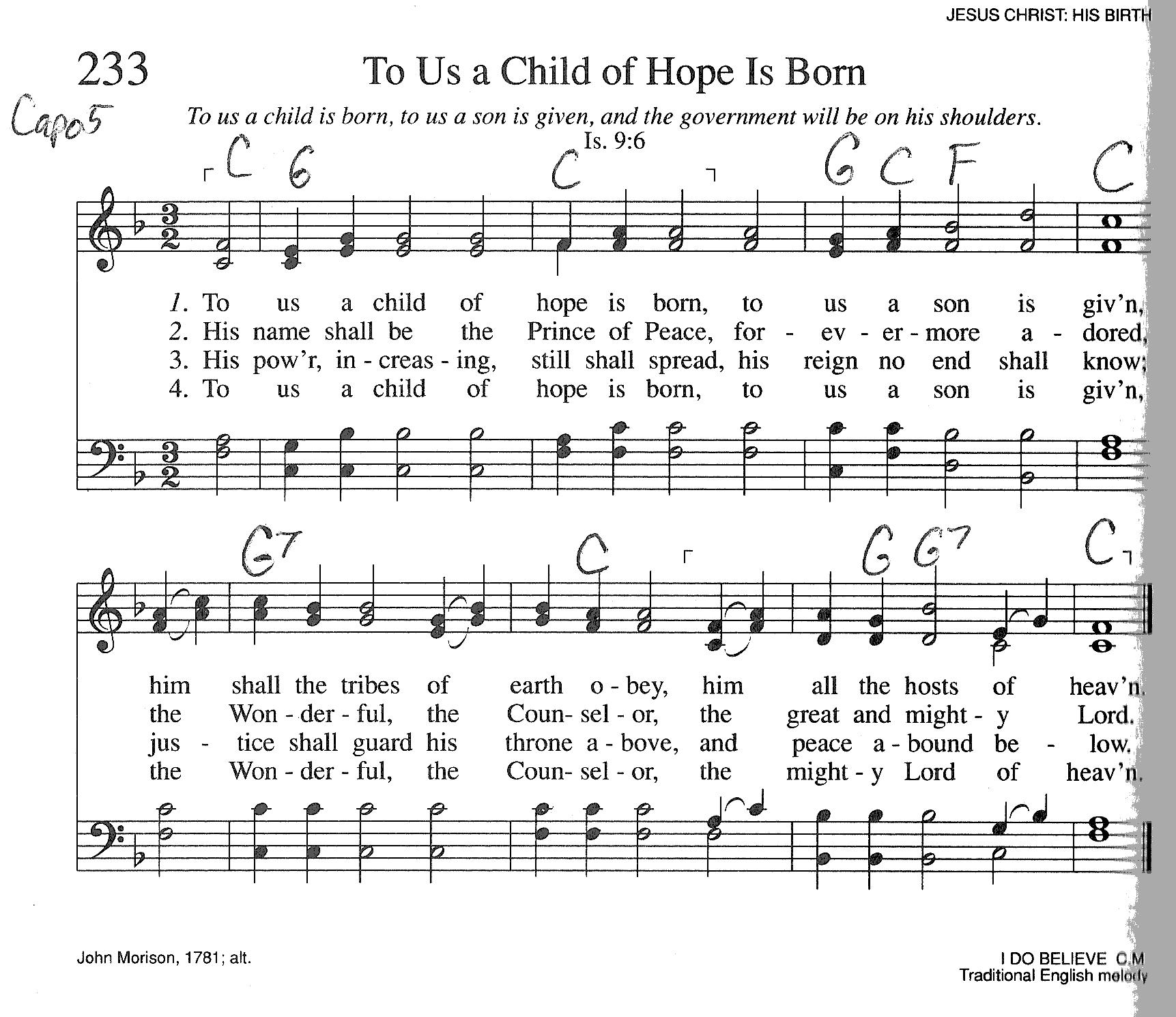 Index of publicdocstrinityhymnaltrinity hymnal guitar chords 233 to us a child hexwebz Choice Image